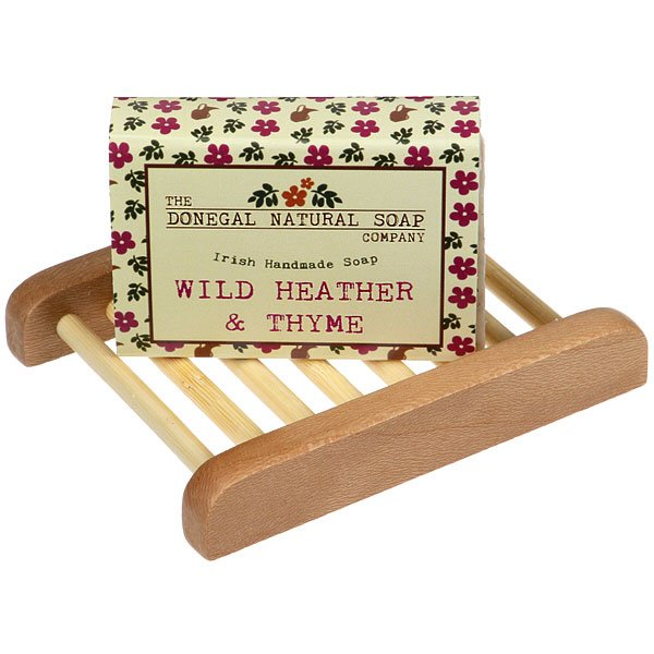 natural handmade soap with wooden dish
