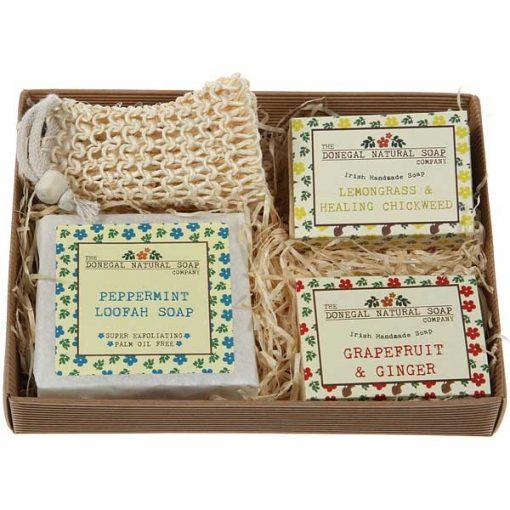 wash scrub natural soap set
